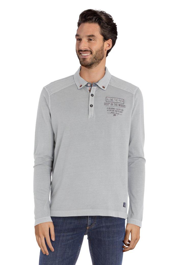 Polo en coton gris clair avec logo brodé