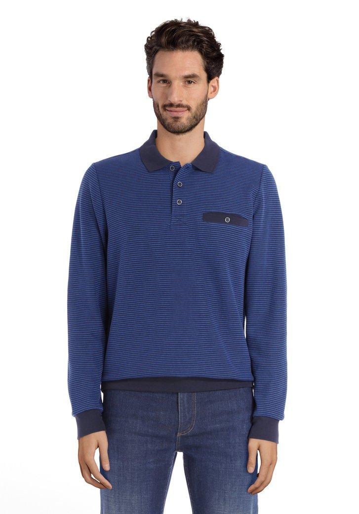 Polo en coton noir à rayures bleues
