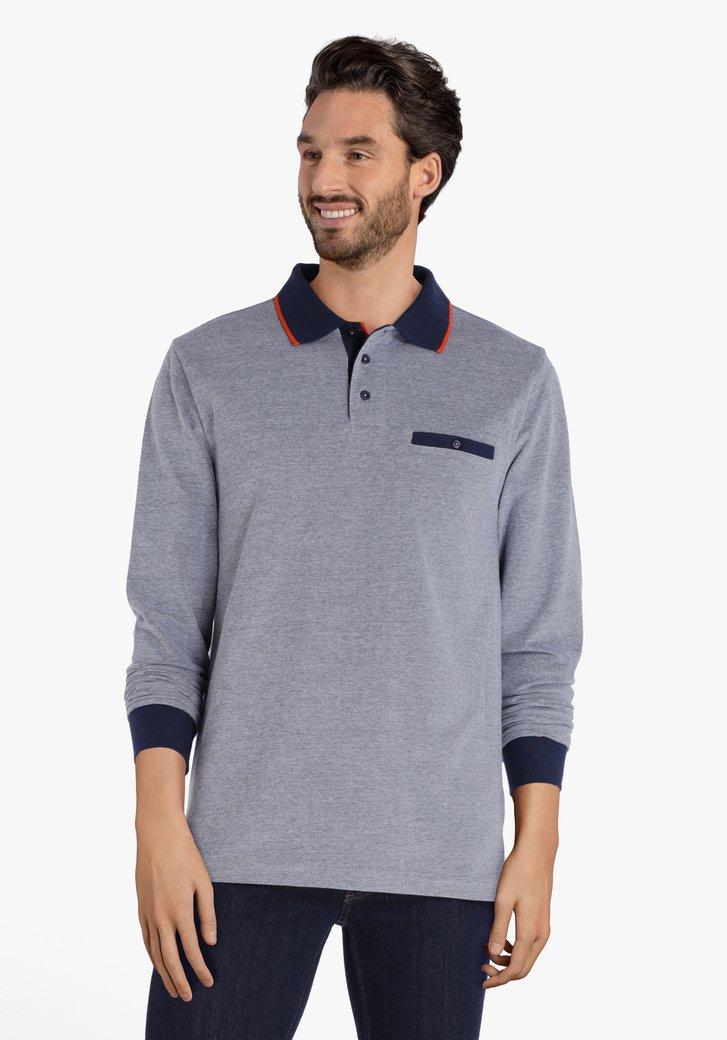 Polo gris avec des accents bleu foncé