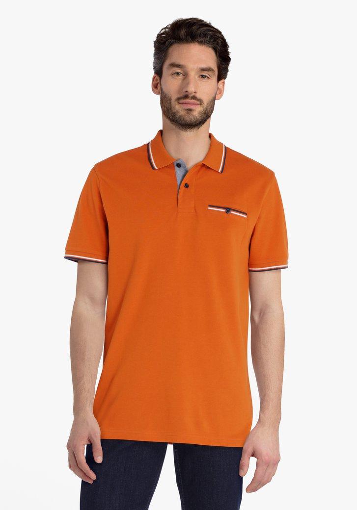 Polo orange avec poche de poitrine