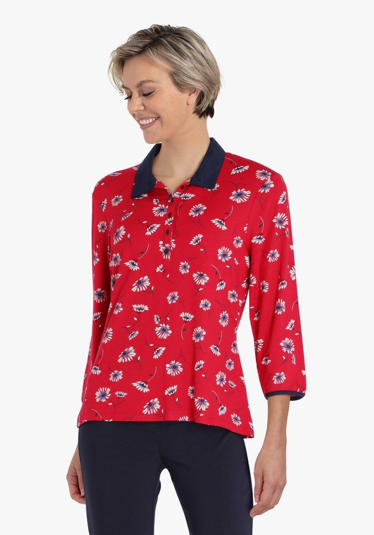 Polo rouge à imprimé floral