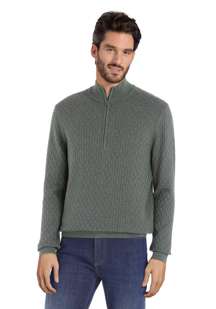 Pull à tissu texturé en coton gris-vert