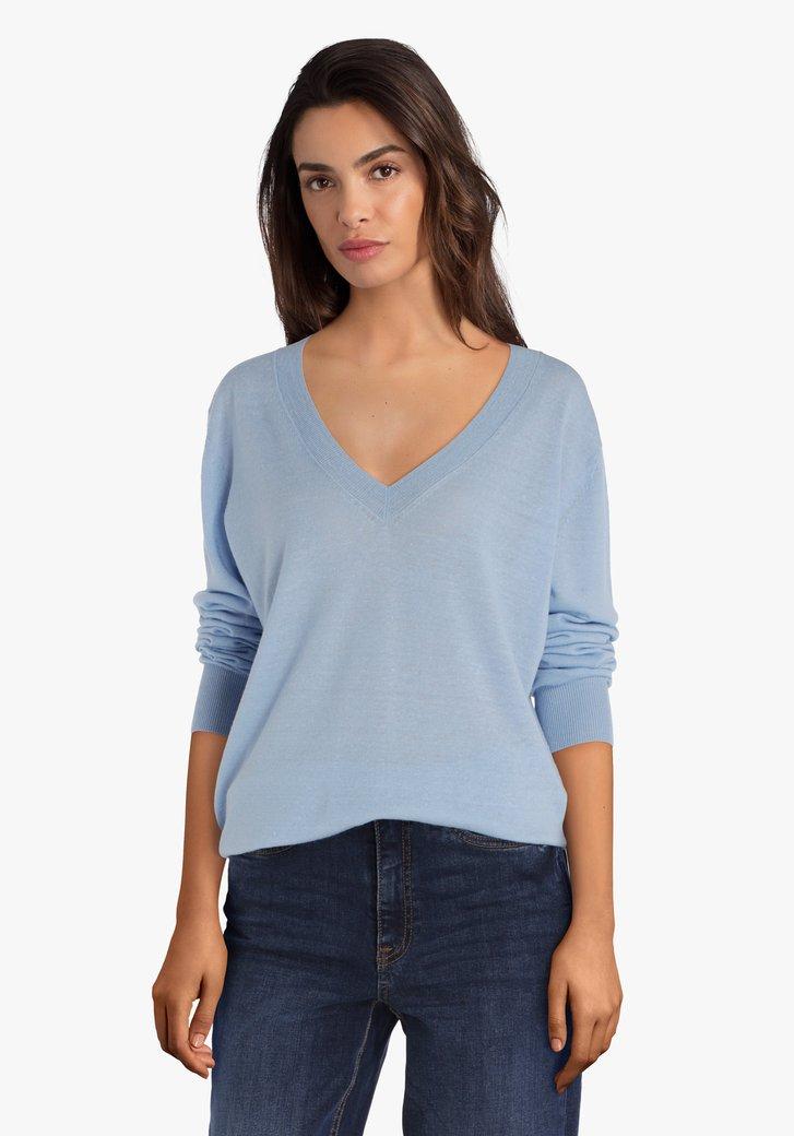 Pull bleu clair à col en V en laine et mérino