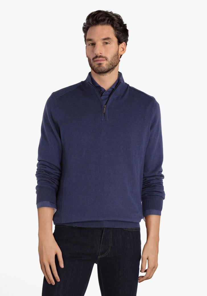 Pull bleu en coton avec tirette courte
