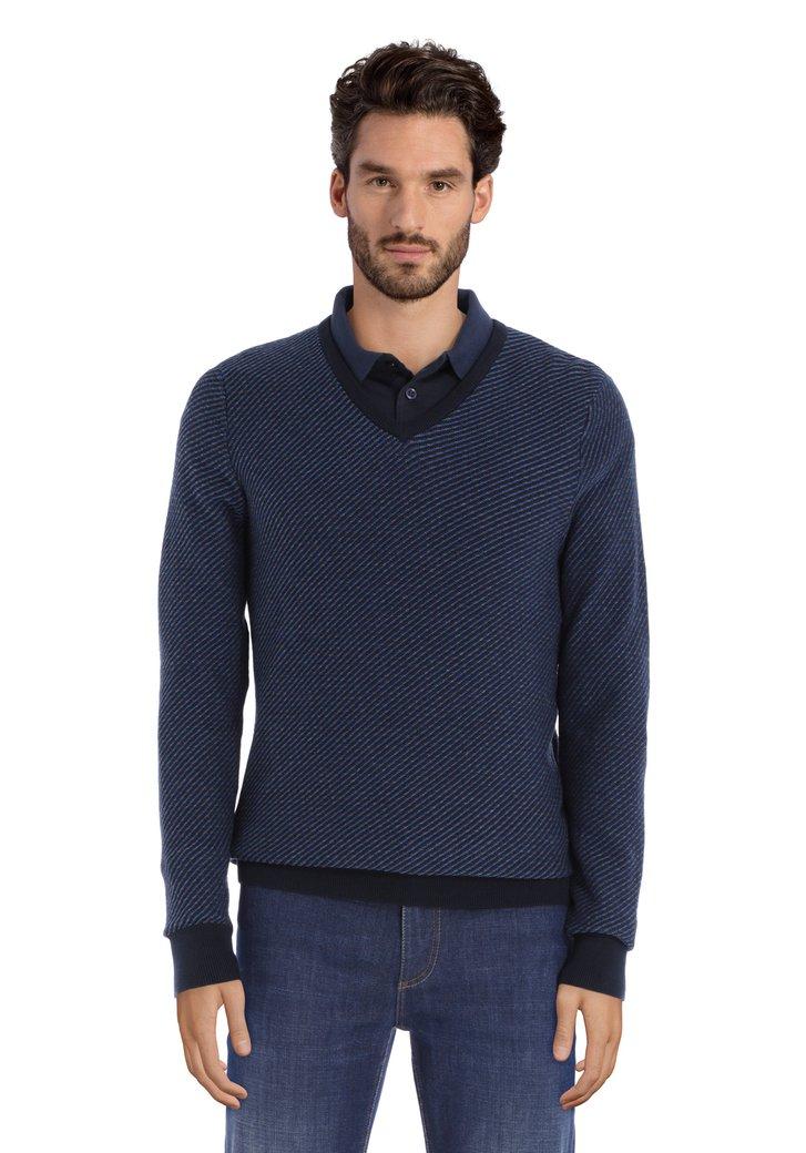 Pull bleu foncé en coton tricoté avec col en V