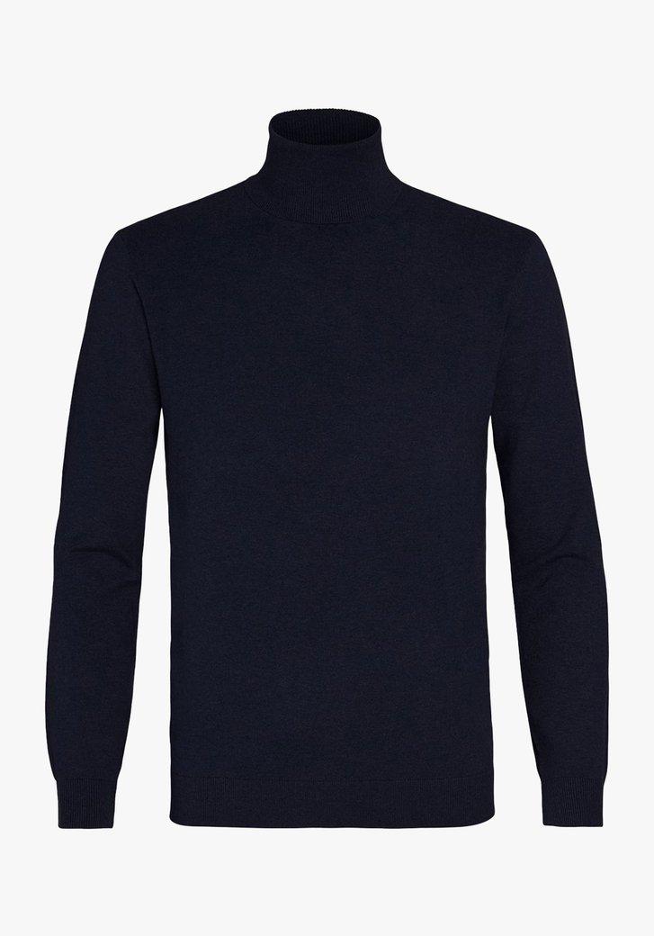 Pull bleu marin à col roulé