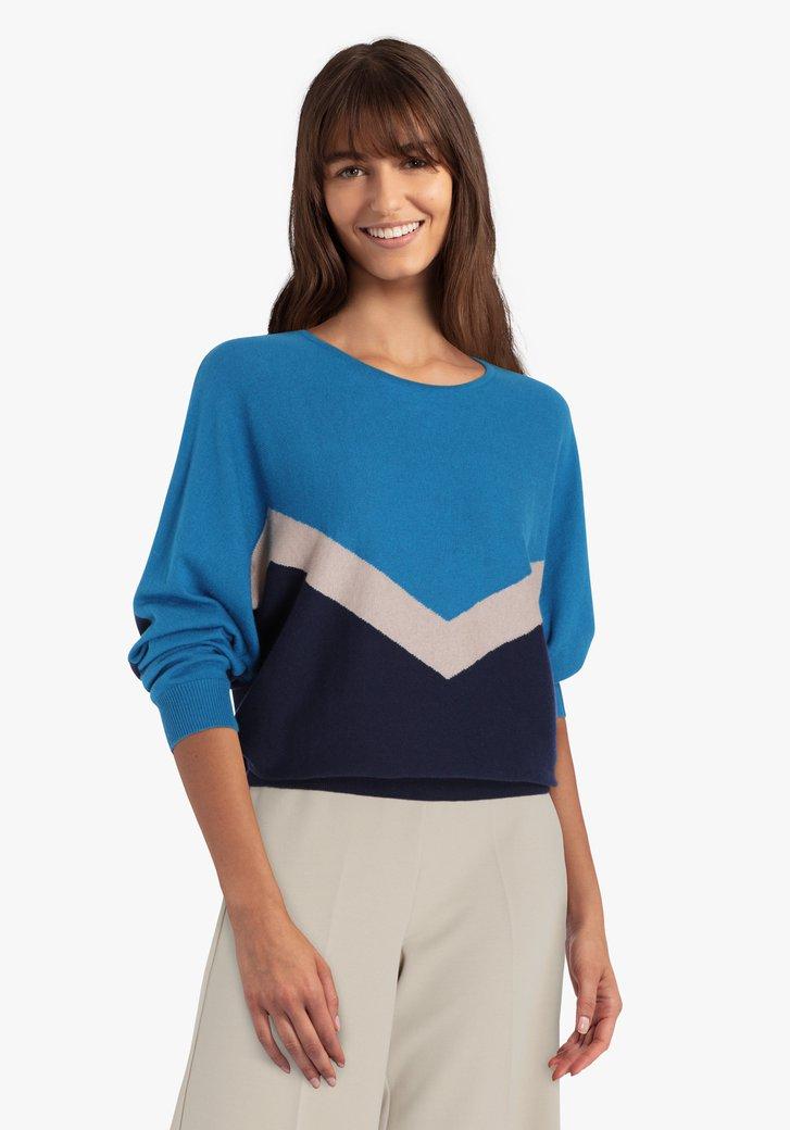 Pull bleu marin à motif bleu-beige