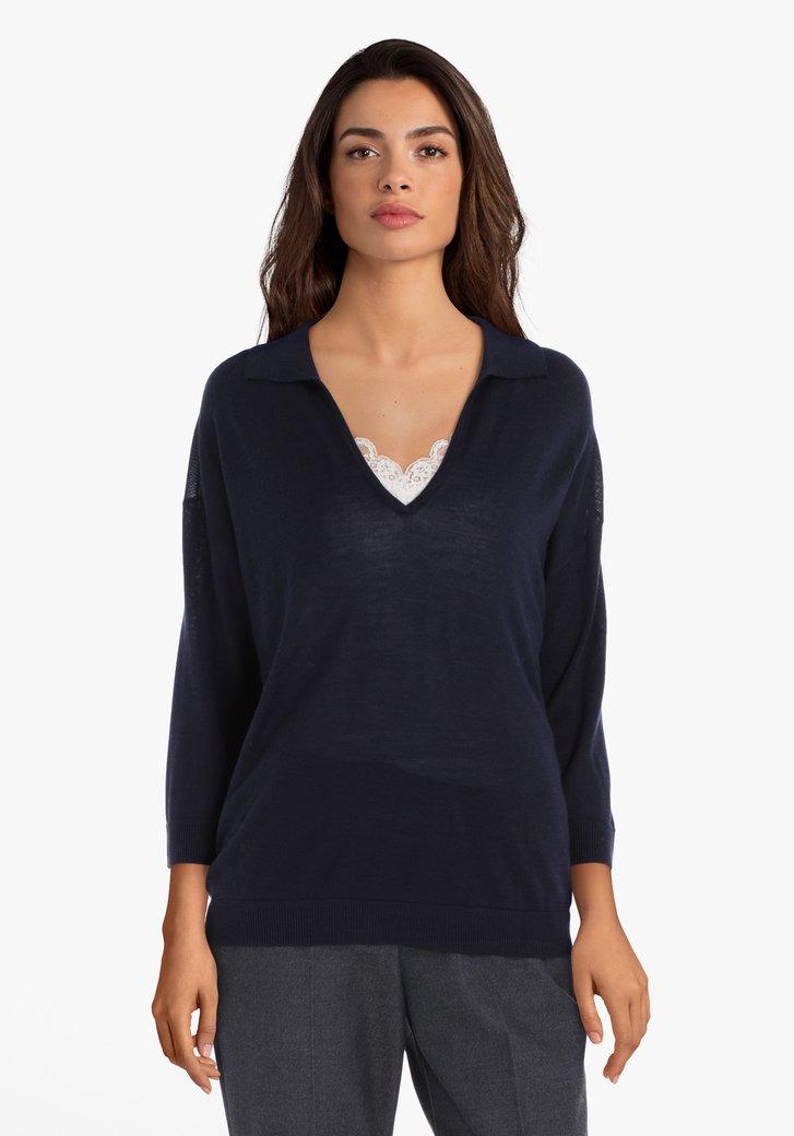 Pull bleu marine en laine