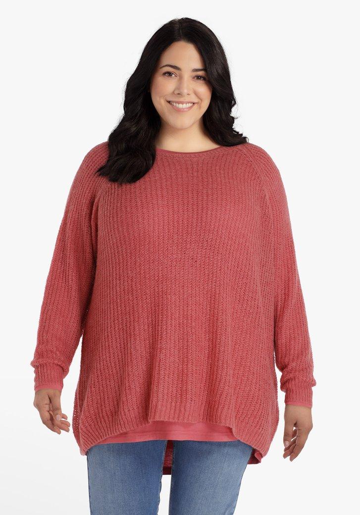 Pull couleur framboise en laine et alpaga