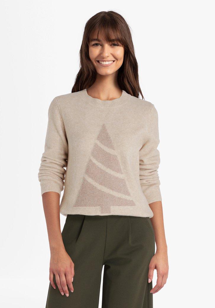 Pull de Noël beige tricoté avec fil à pailleté