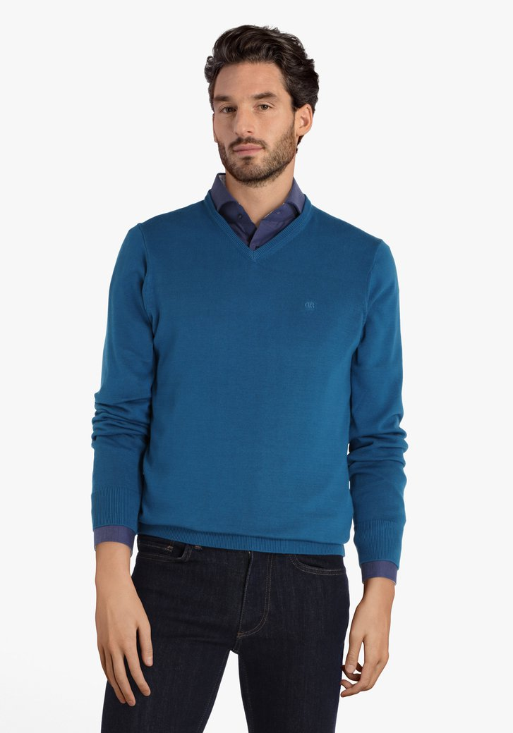 Pull en coton bleu à encolure en V