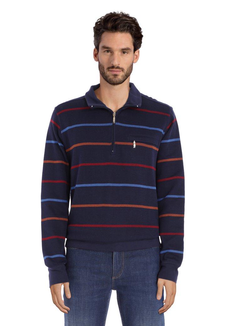 Pull en coton bleu à rayures colorées