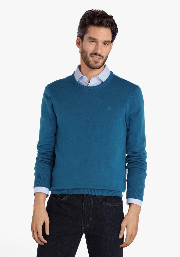 Pull en coton bleu acier à encolure arrondie
