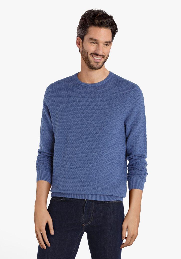 Pull en coton bleu en tissu texturé