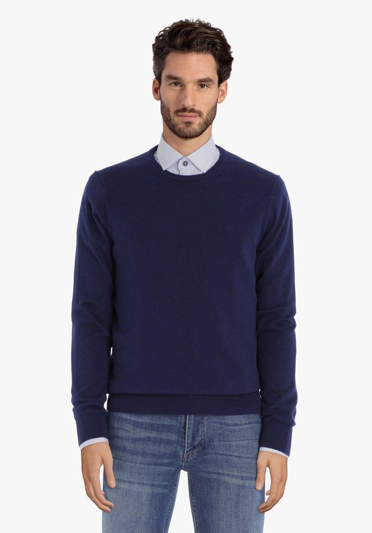 Pull en coton bleu marine à col rond