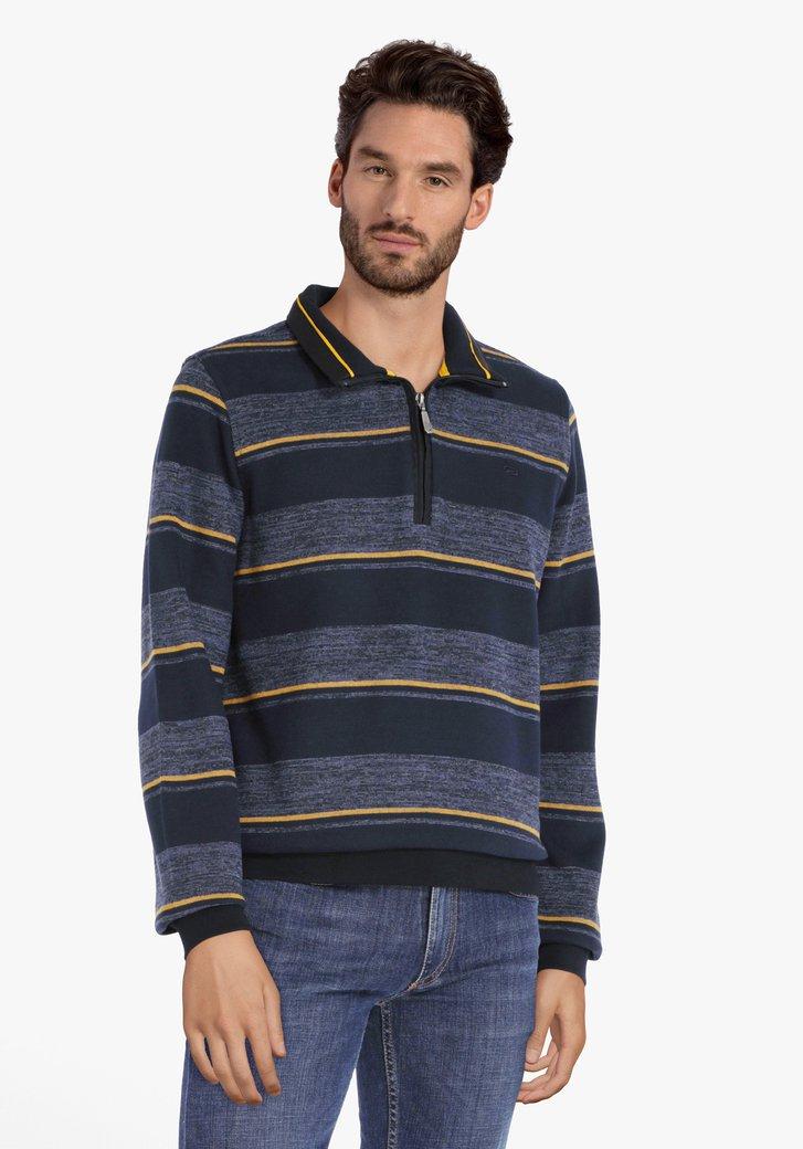 Pull en coton bleu marine à rayures jaunes