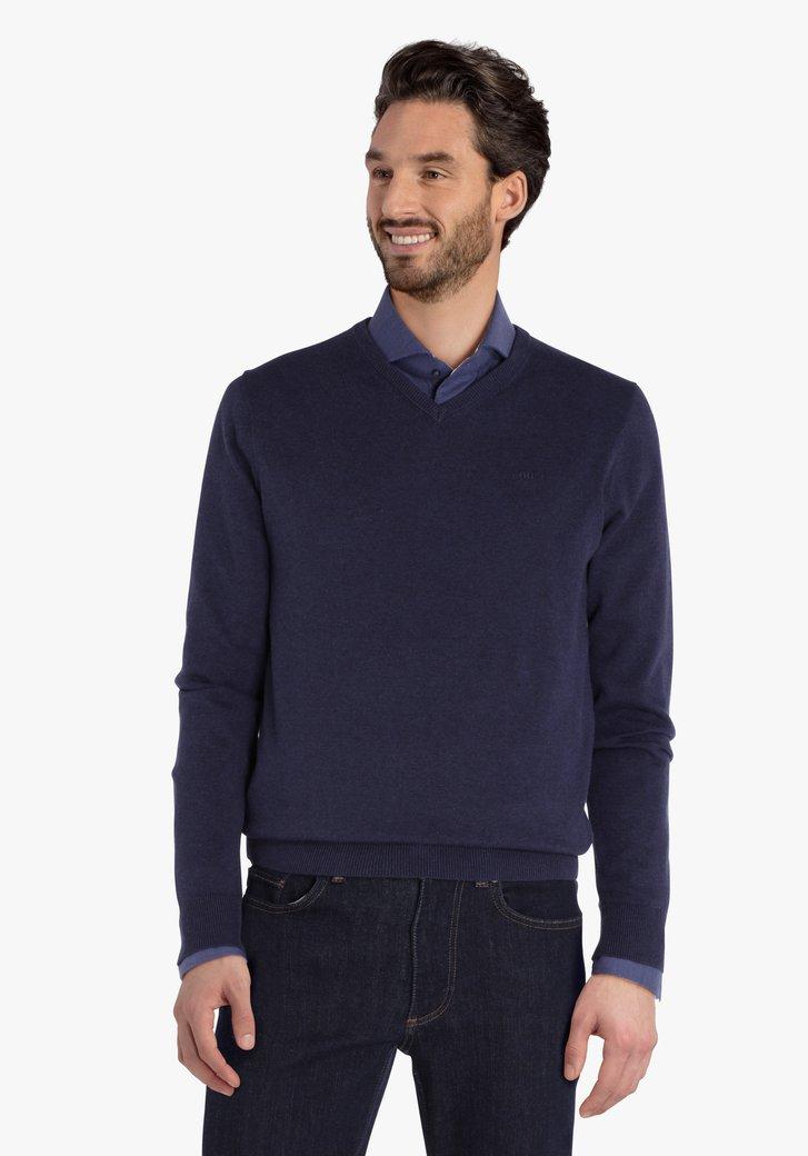 Pull en coton bleu marine avec col en V côtelé