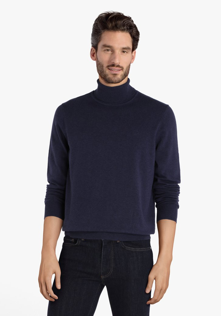 Pull en coton bleu marine avec col roulé