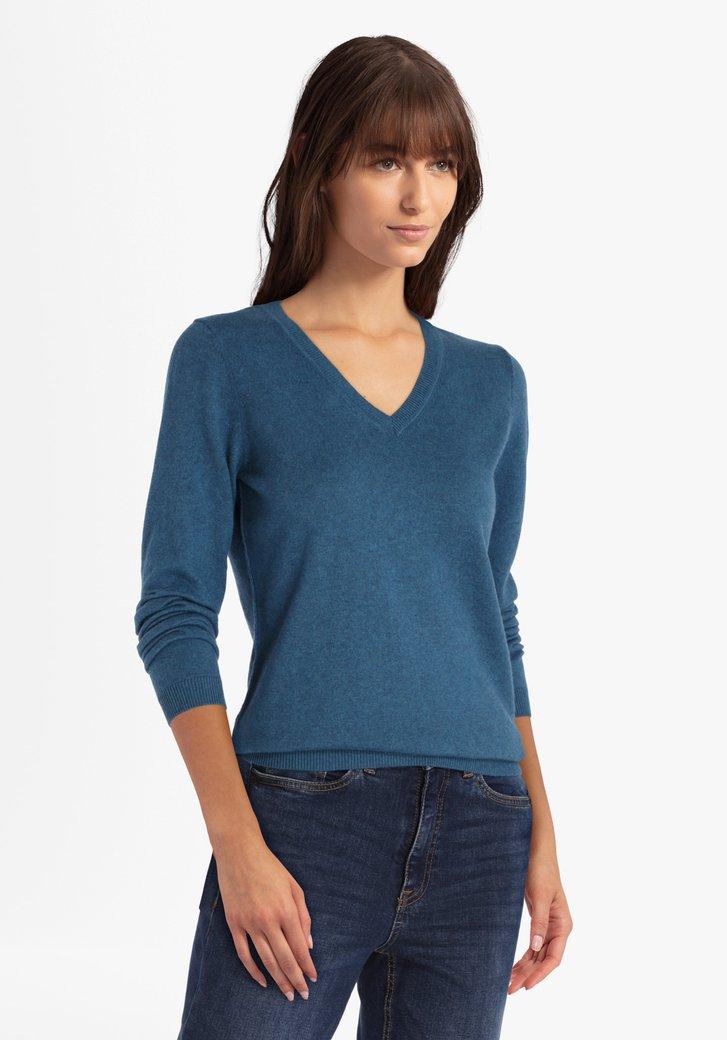 Pull en coton bleu marine avec encolure en V