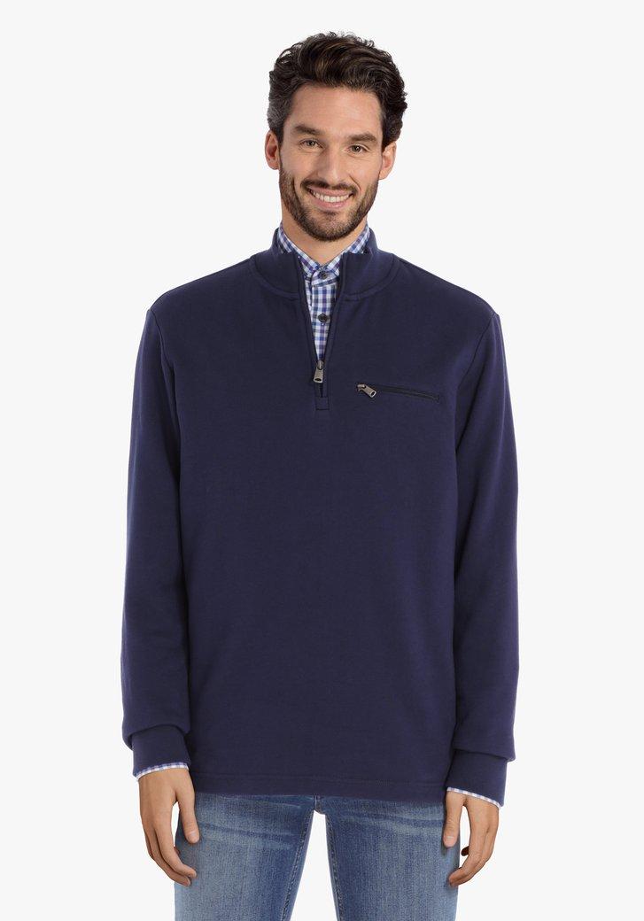 Pull en coton bleu marine avec tirette courte