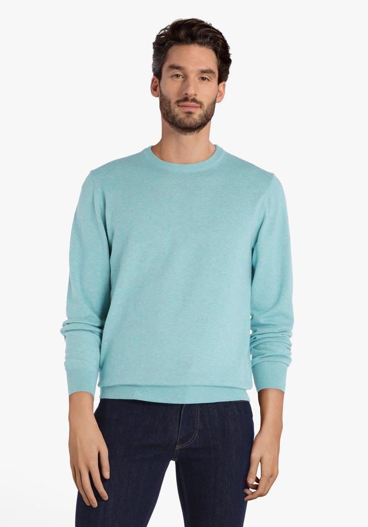 Pull en coton bleu vert à col rond