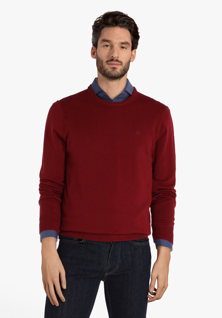 Pull en coton bordeaux à encolure arrondie