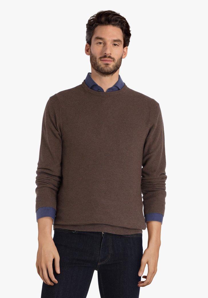 Pull en coton brun à encolure ronde côtelée