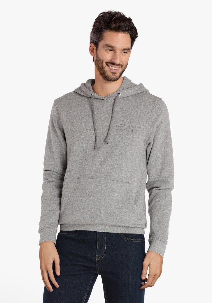 Pull en coton gris avec capuche