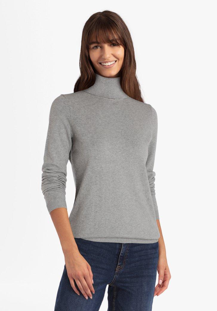 Pull en coton gris avec col roulé