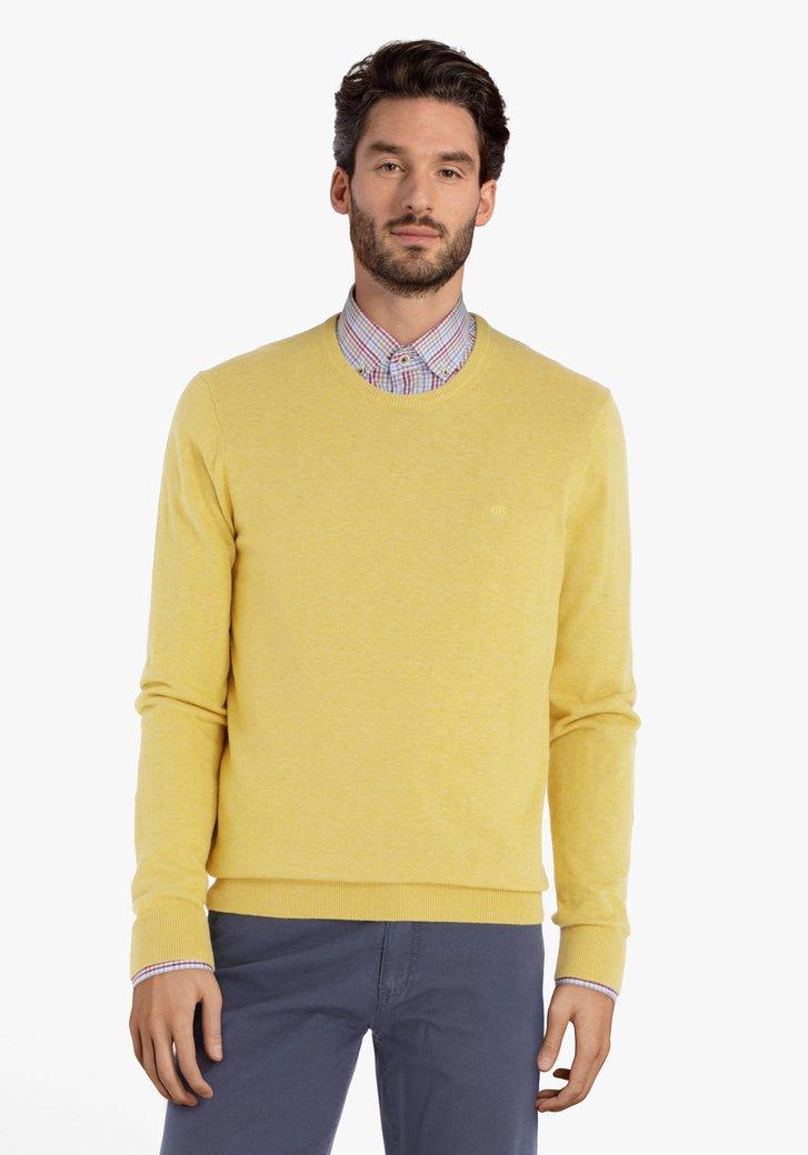 Pull en coton jaune à col rond