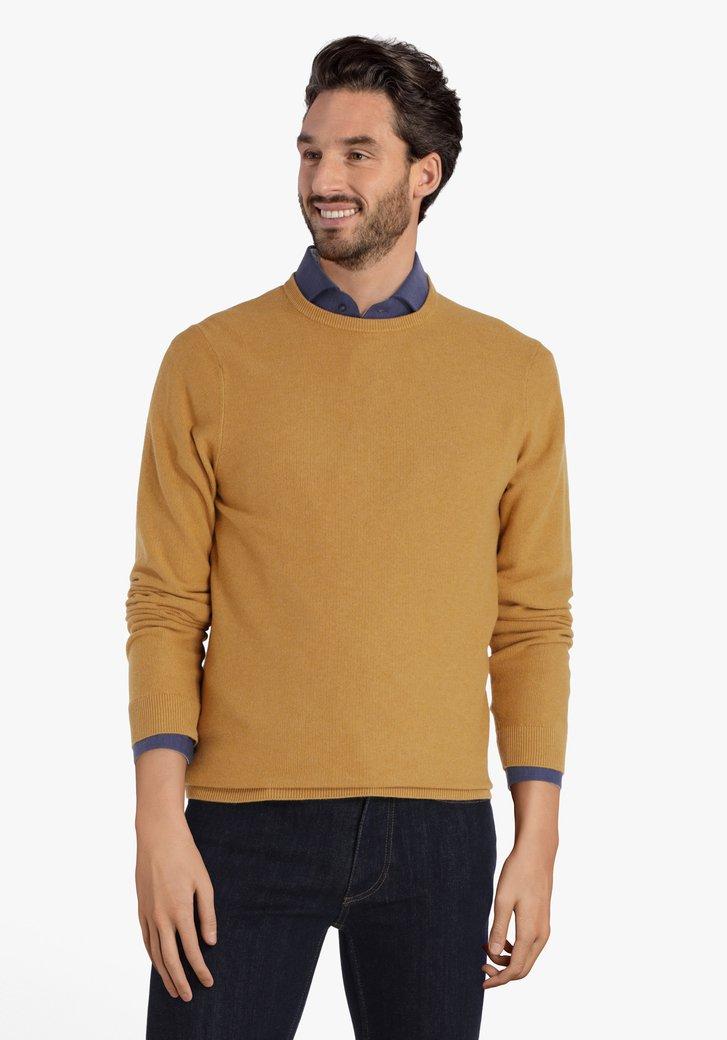Pull en coton jaune avec encolure ronde côtelée