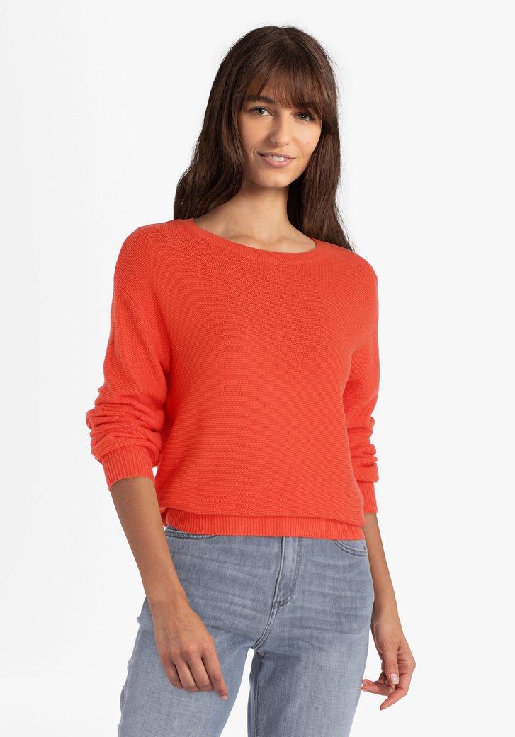 Pull en coton rouge corail
