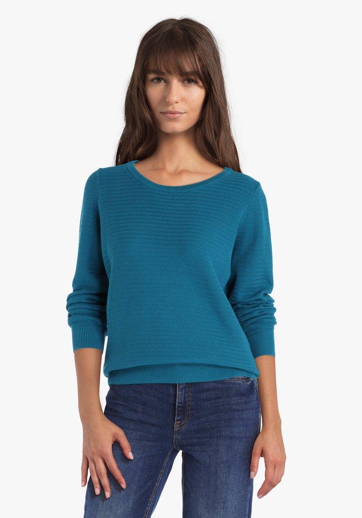 Pull en coton texturé bleu vert