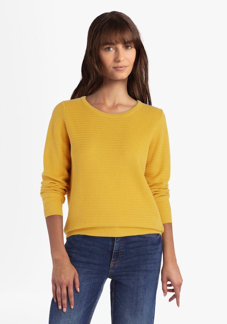 Pull en coton texturé jaune d'or