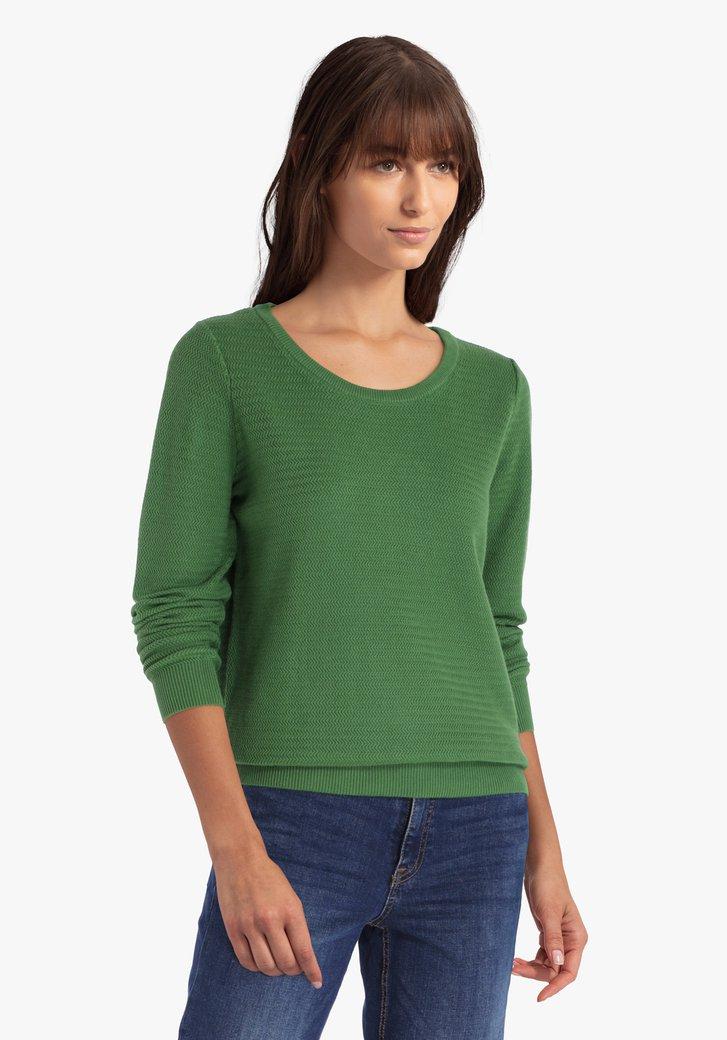 Pull en coton texturé vert olive