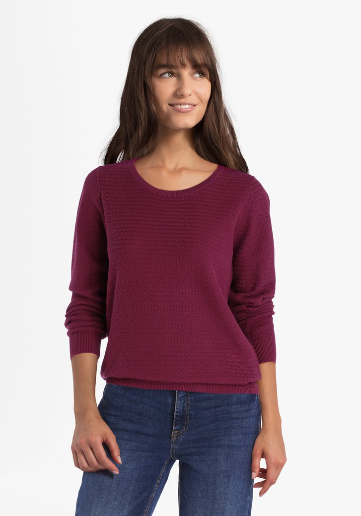 Pull en coton texturé violet