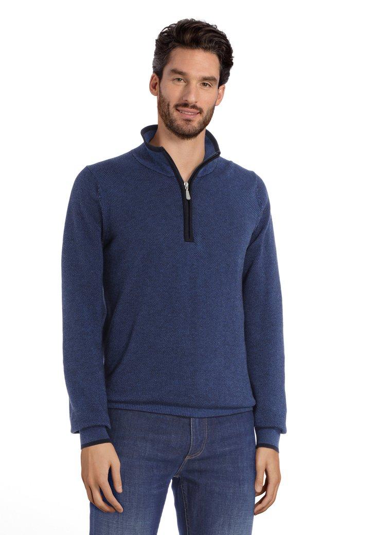 Pull en coton tricoté bleu foncé avec tirette