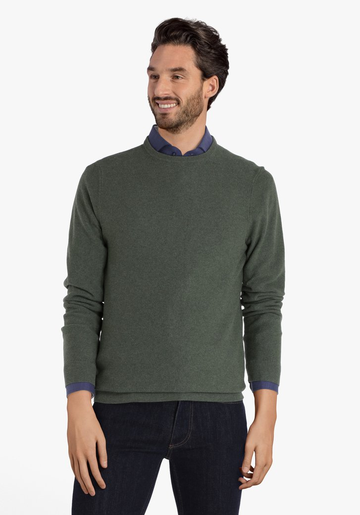 Pull en coton vert avec encolure ronde côtelée