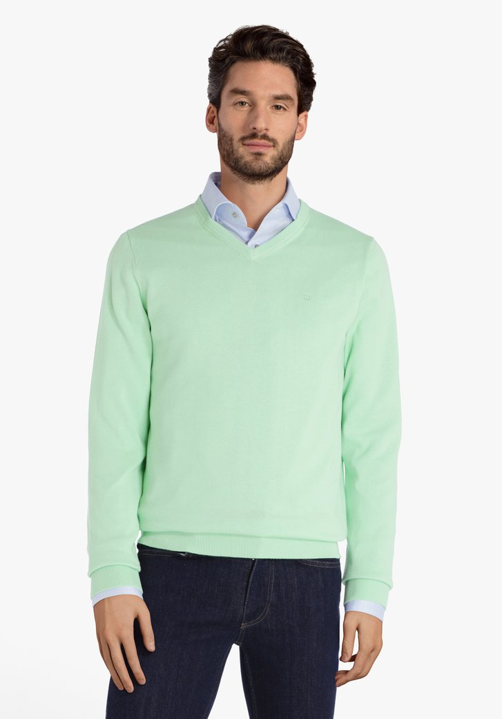 Pull en coton vert clair avec col en V