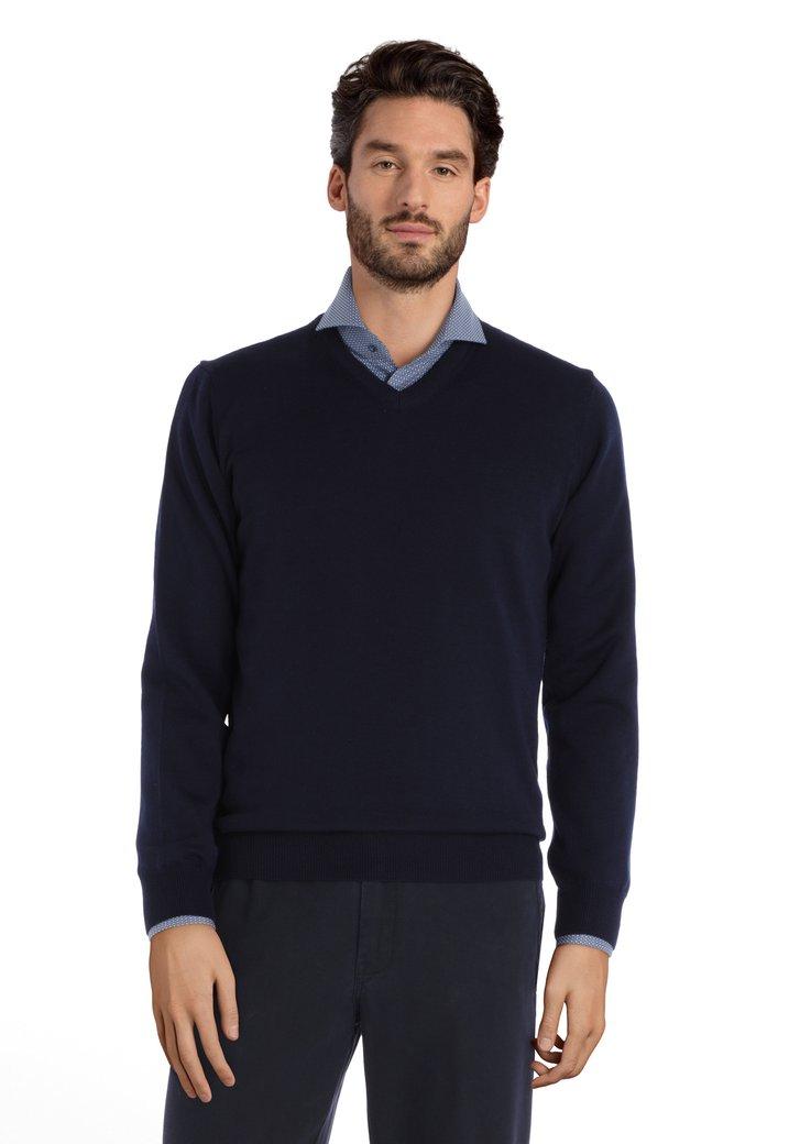 Pull en laine bleu marine à col V