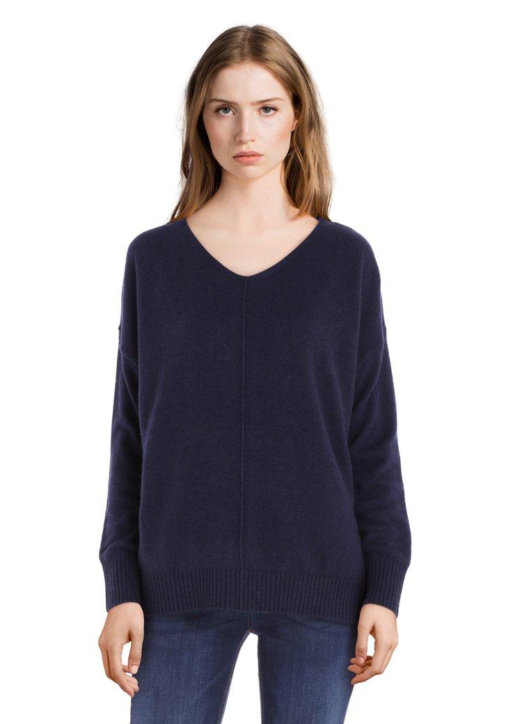 Pull en laine bleu marine avec encolure en V