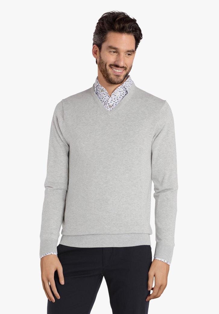 Pull en laine gris clair à col V