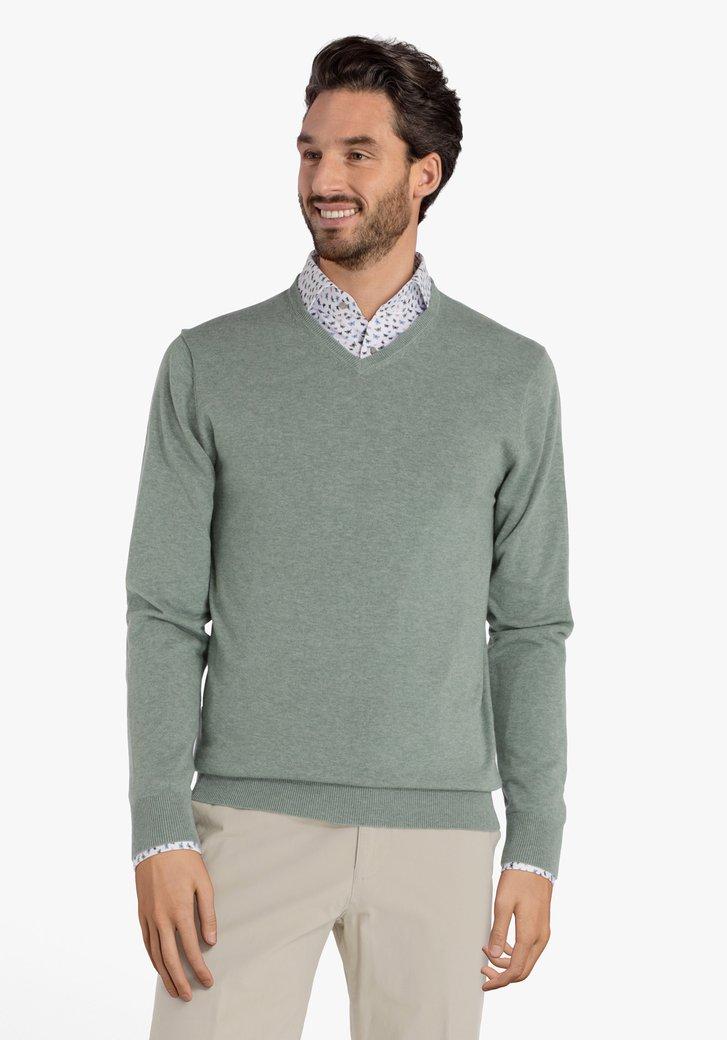 Pull en laine vert clair à col V