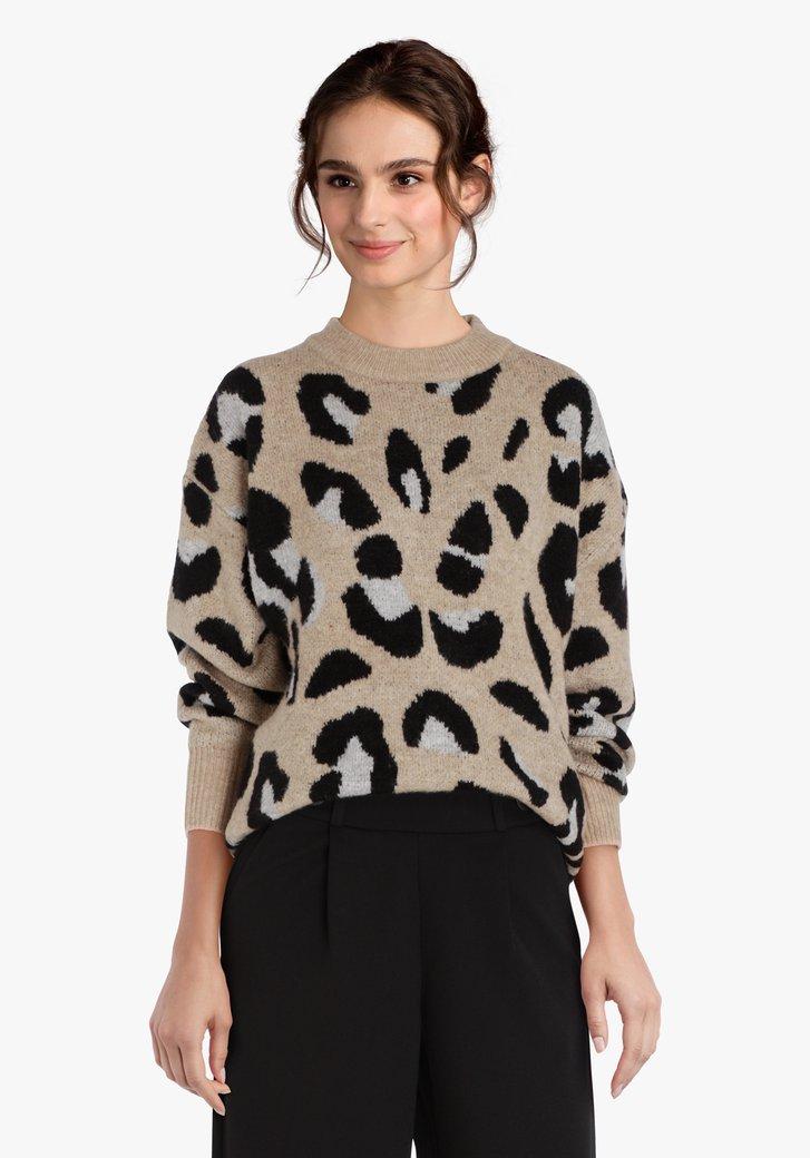 Pull en tricot avec imprimé animal