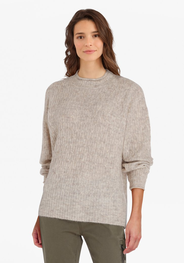 Pull en tricot beige-gris