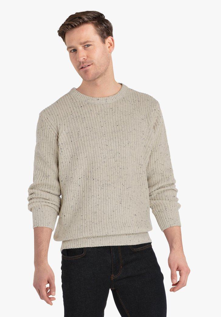 Pull en tricot beige moucheté