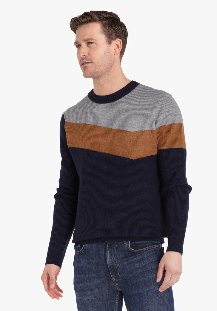 Pull en tricot bleu marine avec motif gris-brun
