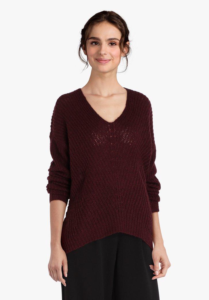 Pull en tricot bordeaux