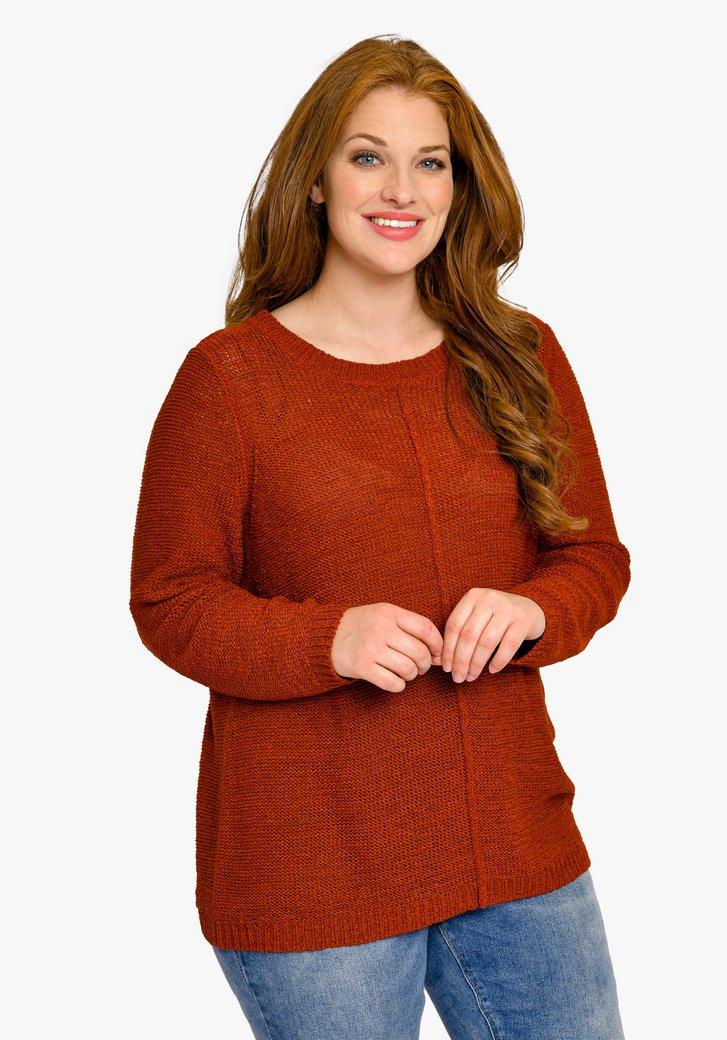 Pull en tricot brun rouge