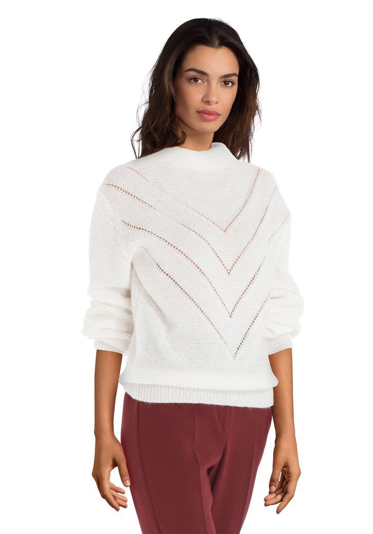 Pull en tricot écru avec motif
